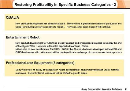 Informe de Sony sobre la interrupción de la producción de Qrio y Aibo